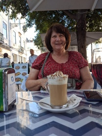 Kathie enjoying her Cappuccino